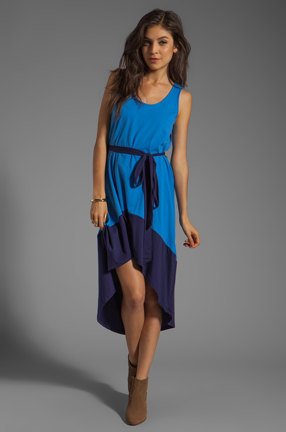 Bobi Colorblock Supreme Jersey Asymmetric Dress in Tropez/Yacht