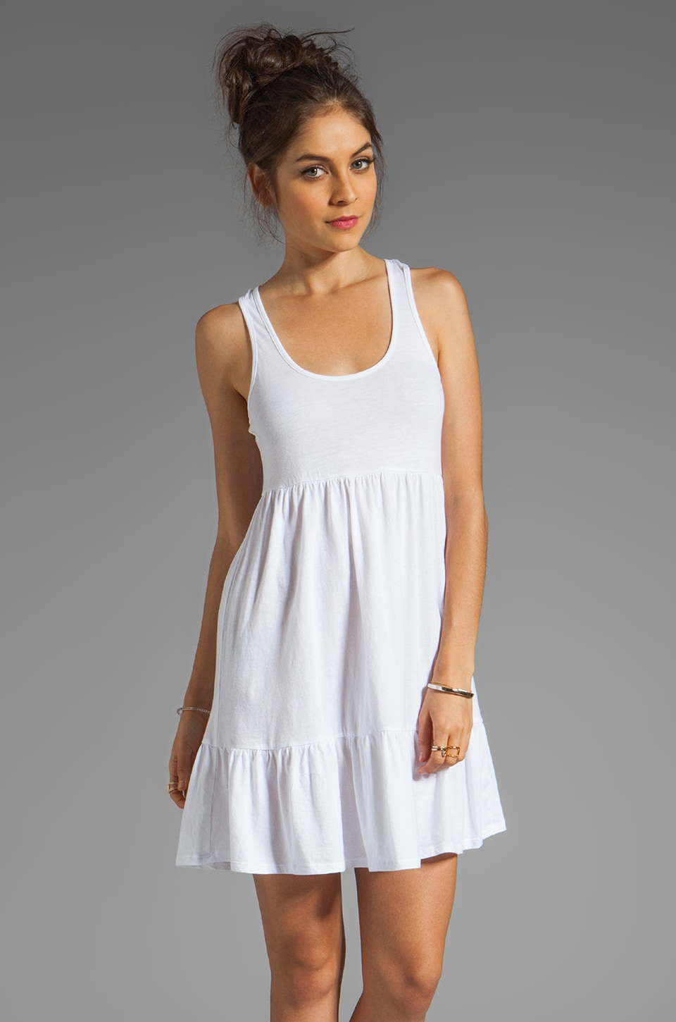 Bobi Light Weight Jersey Tank Dress in White