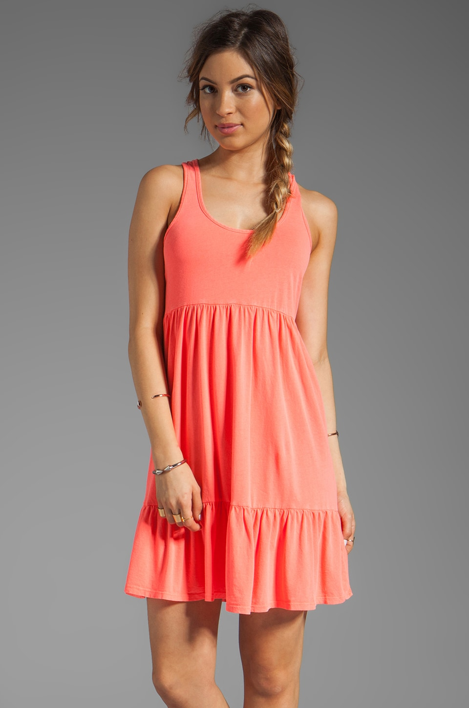 Bobi Light Weight Jersey Tank Dress in Neon Coral