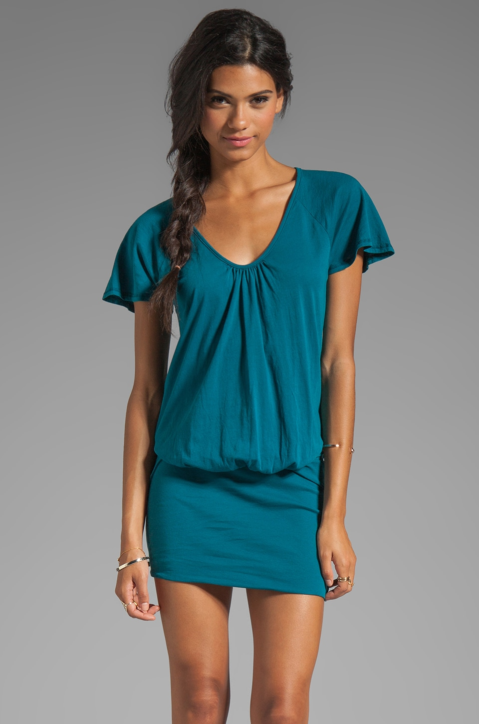Bobi Light Weight Jersey Scoop Neck Dress in Catalina