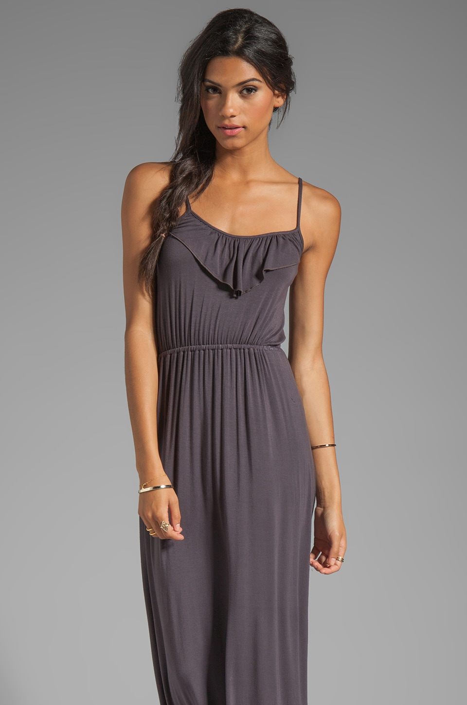 Bobi Jersey Ruffle Dress in Empire