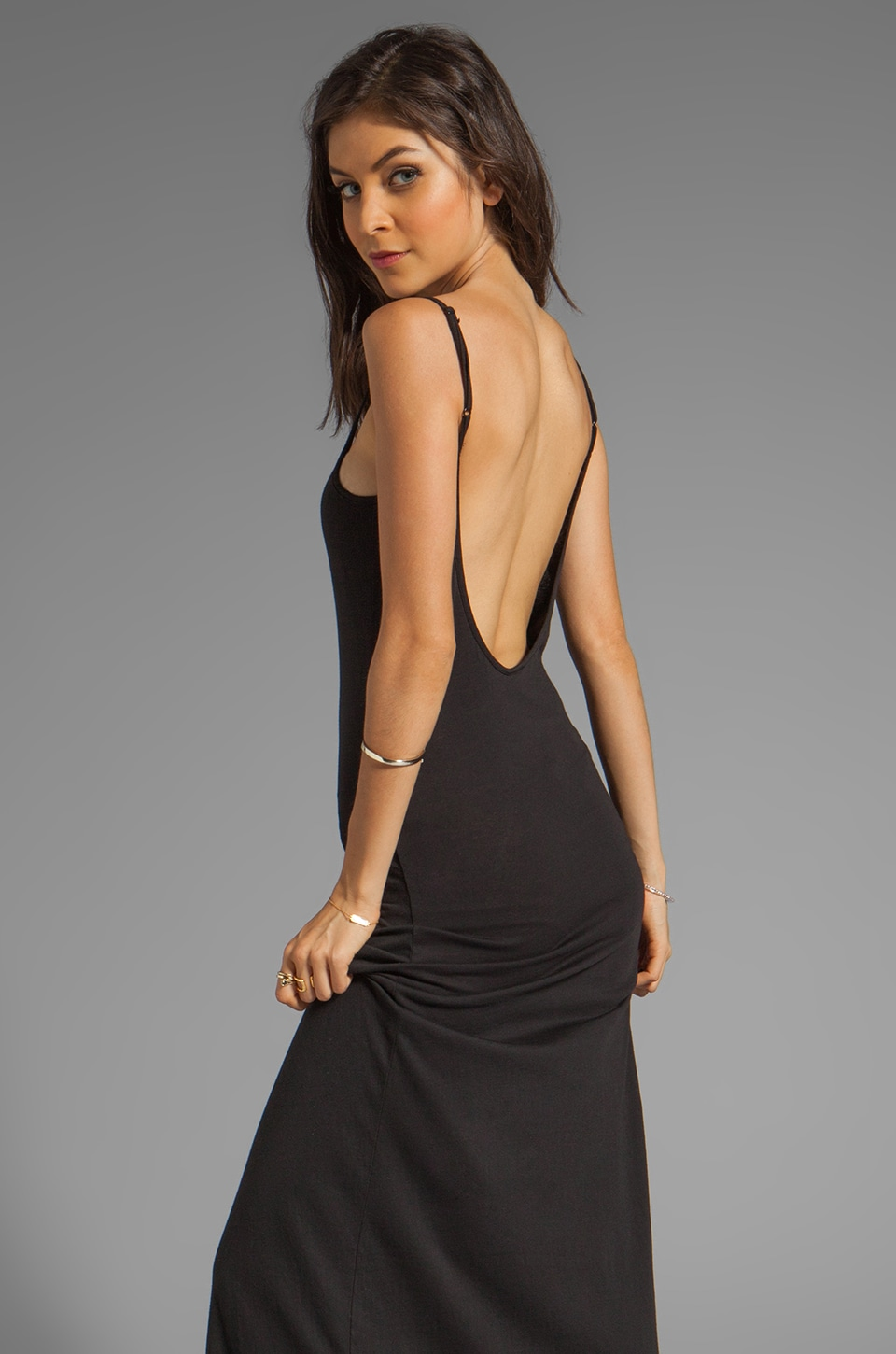 Bobi EXCLUSIVE Jersey Low Back Maxi Dress in Black | REVOLVE