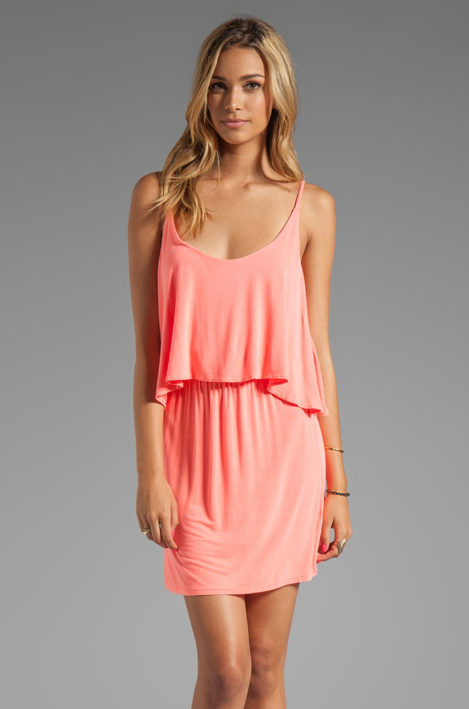 Bobi Jersey Layered Dress in Neon Coral