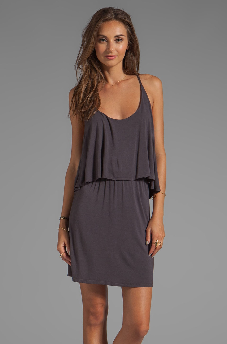 Bobi Jersey Layered Dress in Empire