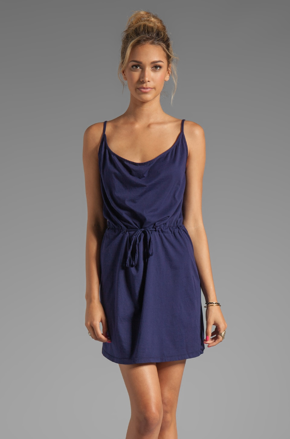 Bobi Supreme Jersey Tie Waist Dress in Yacht