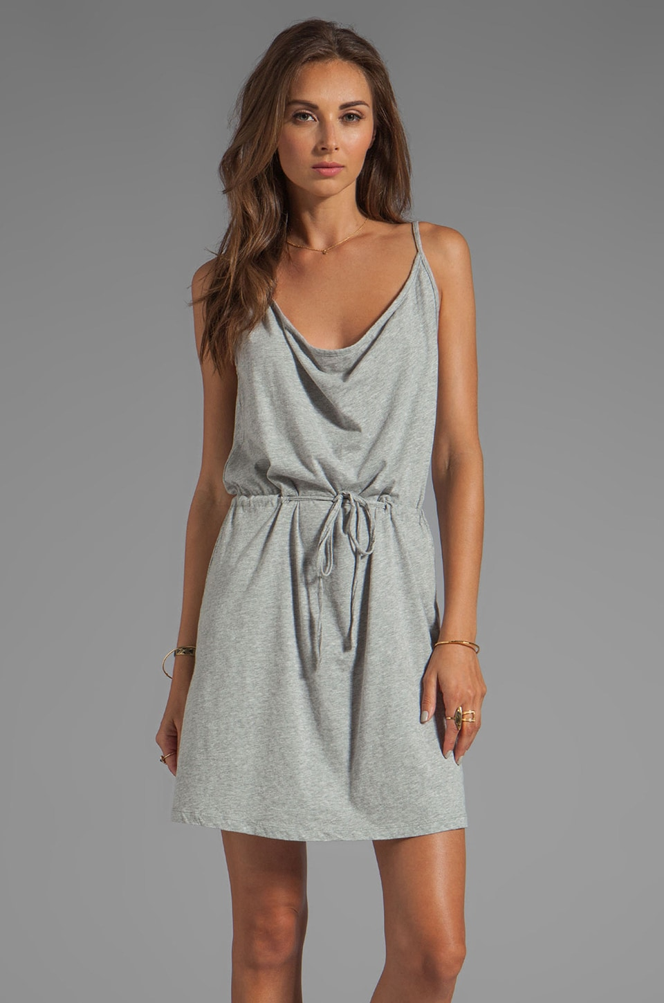 Bobi Supreme Jersey Tie Waist Dress in Heather Grey