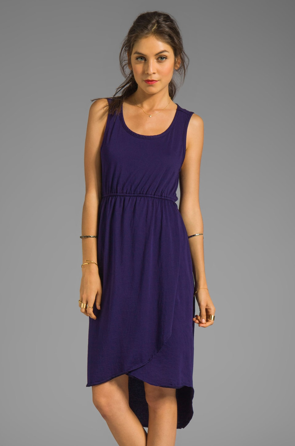 Bobi Supreme Jersey Asymmetric Hem Dress in Yacht