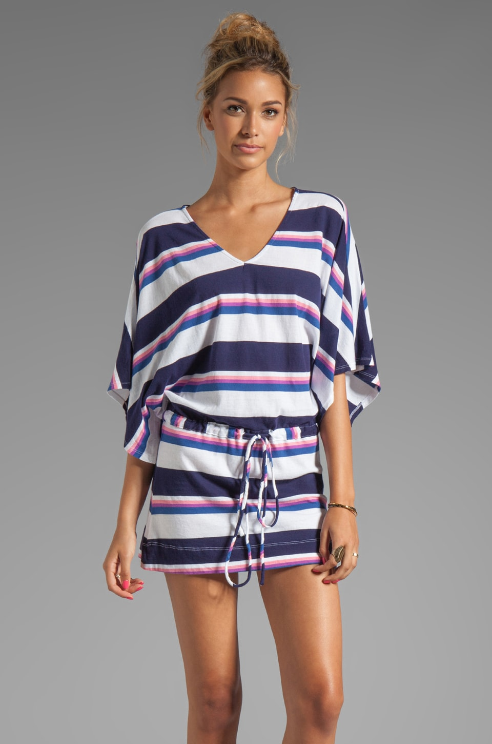 Bobi Color Block Stripe Dress in Navy