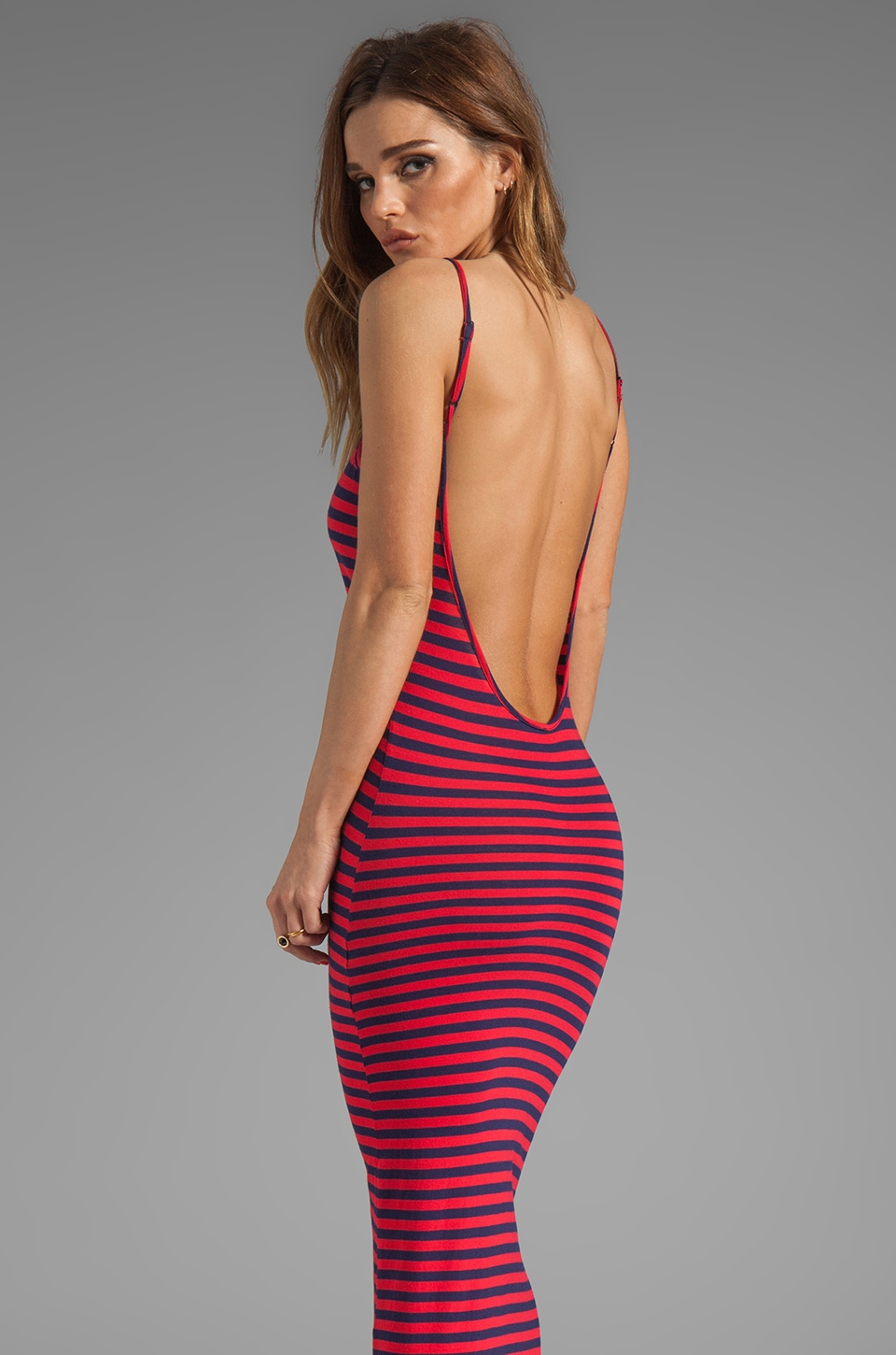Bobi Stripe Low Back Dress in Yacht/Bali
