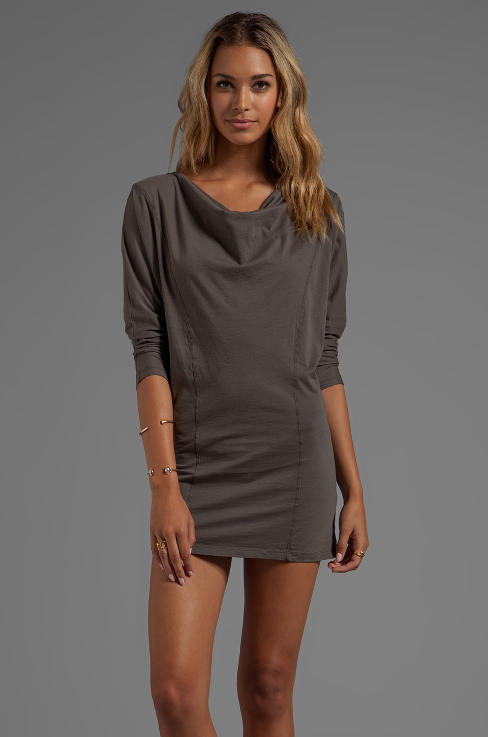 Bobi Supreme Jersey Long Sleeve Cowl Neck Dress in Mountain