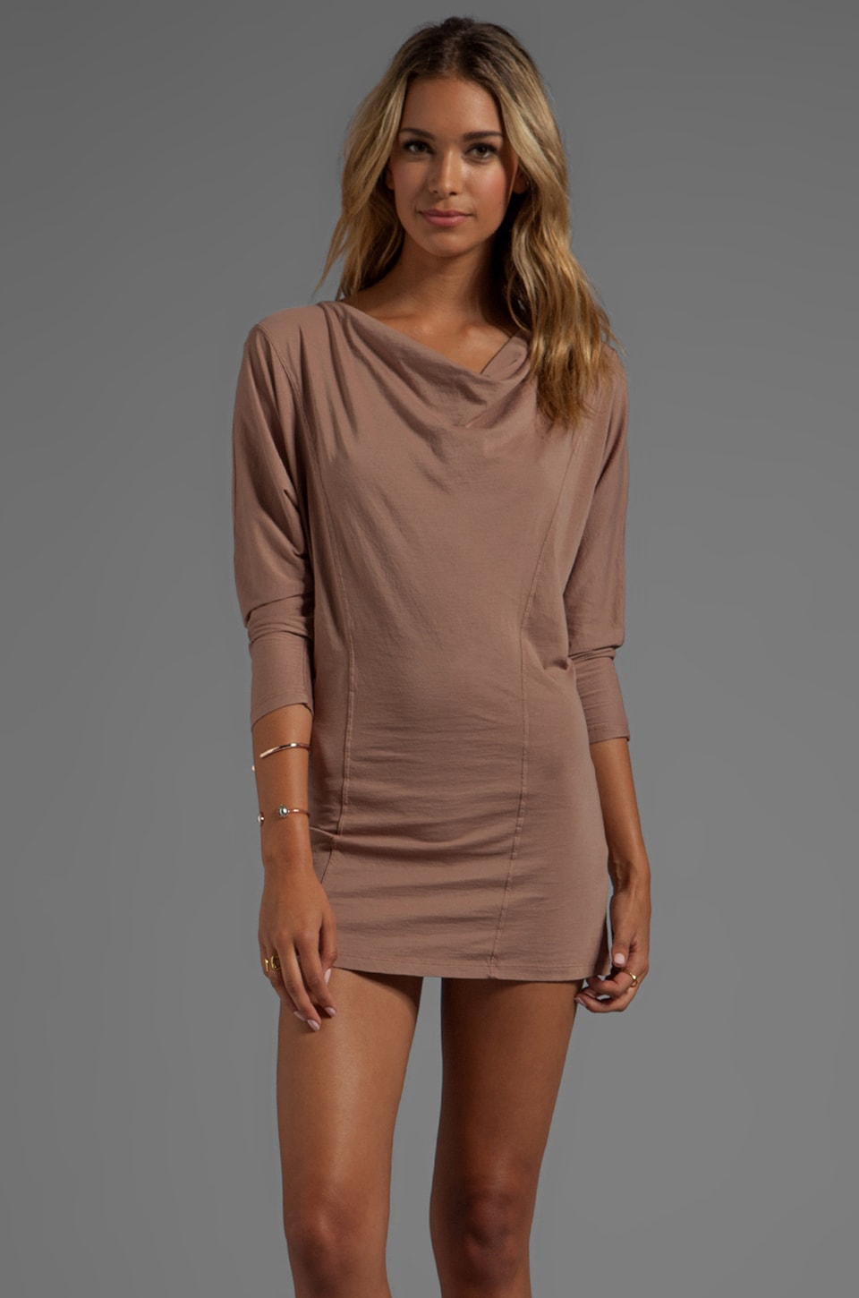 Bobi Supreme Jersey Long Sleeve Cowl Neck Dress in Hyde