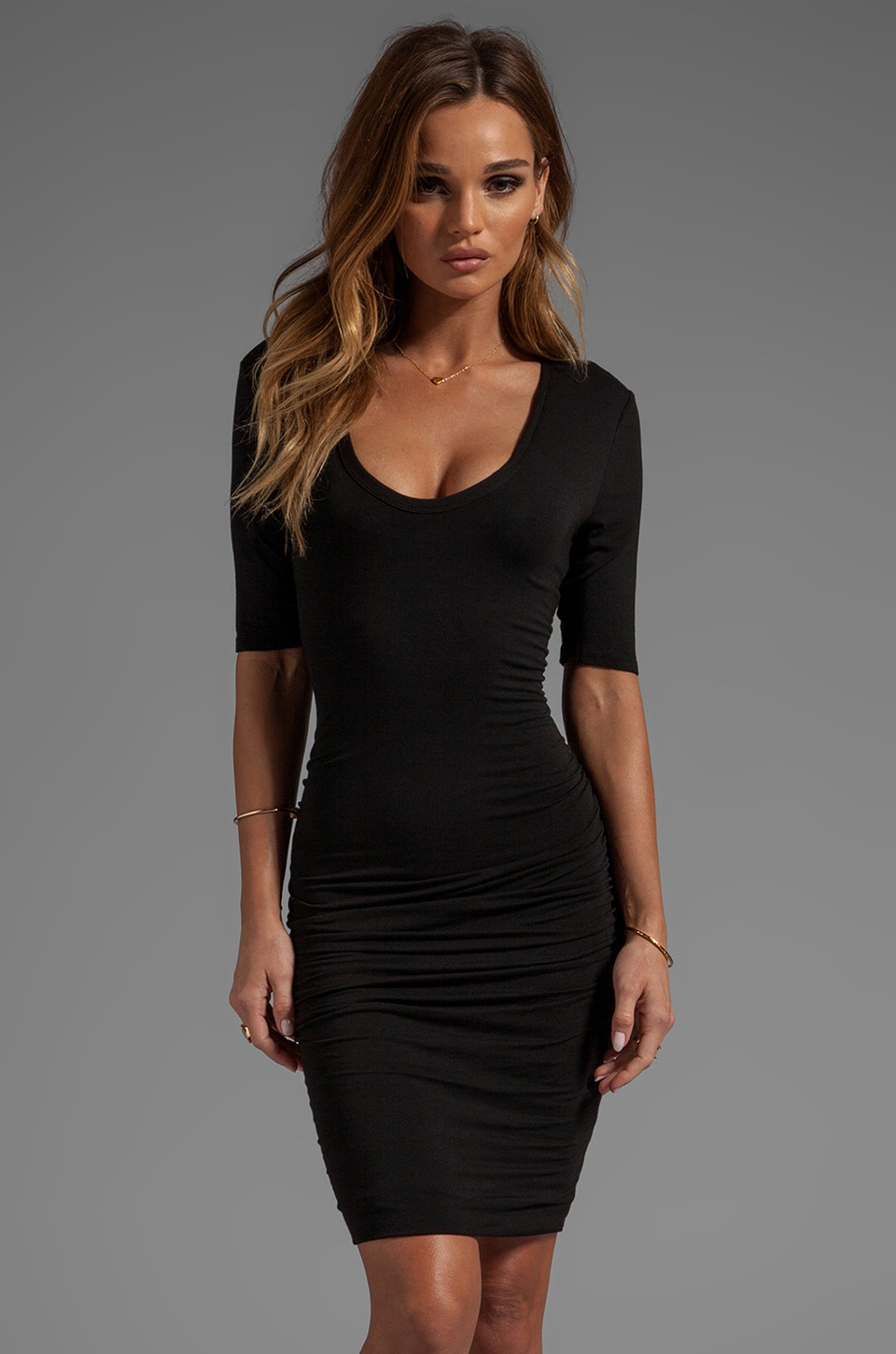 Bobi Ruched Scoop Neck Dress in Black