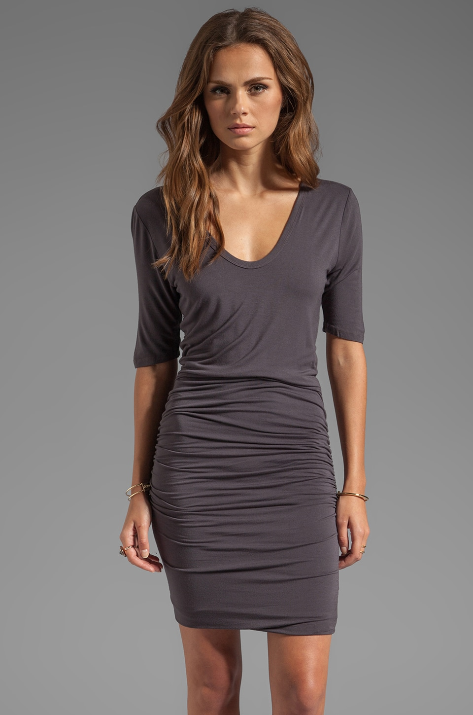 Bobi Ruched Scoop Neck Dress in Empire