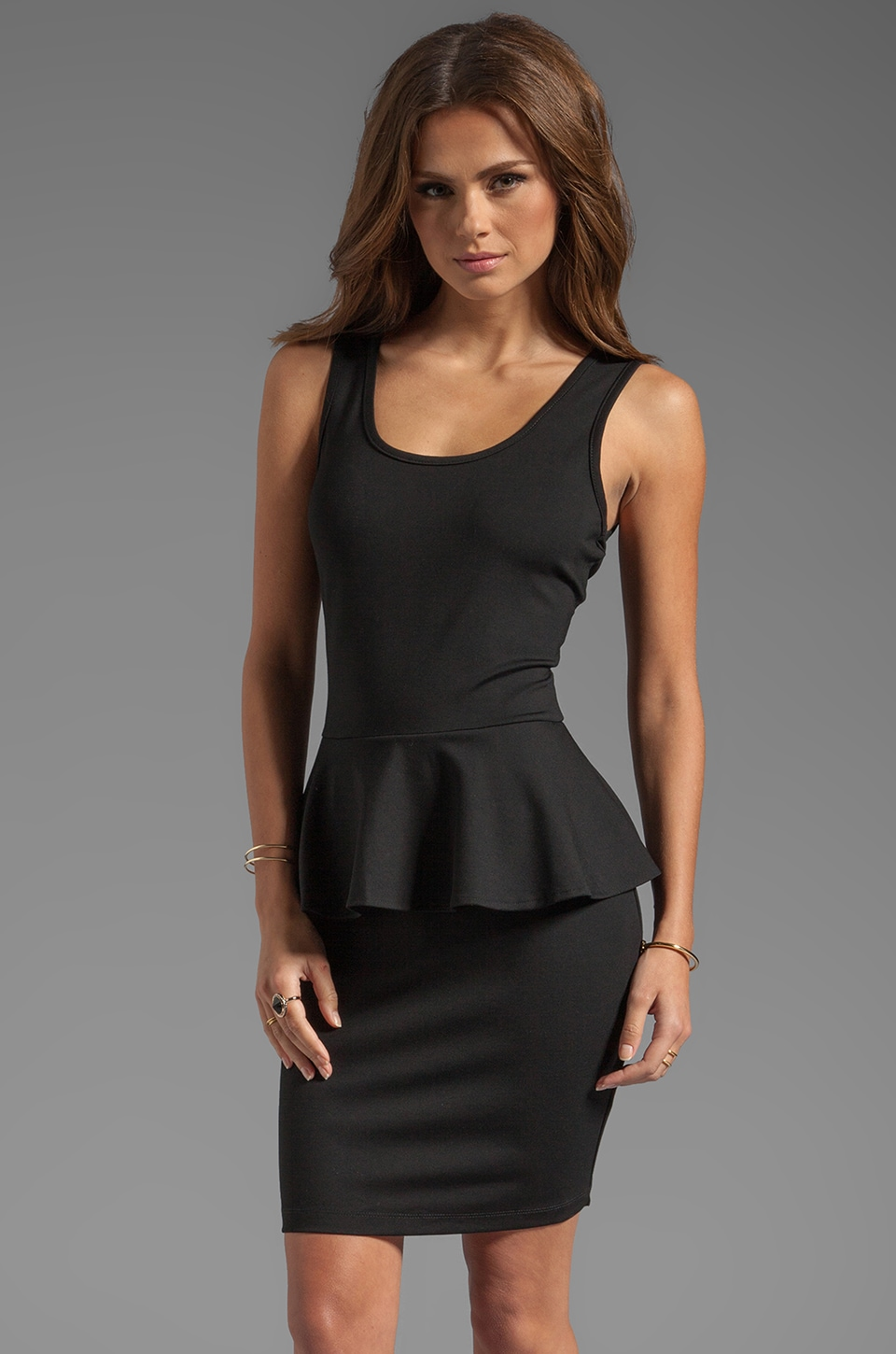 Bobi Peplum Tank Dress in Black