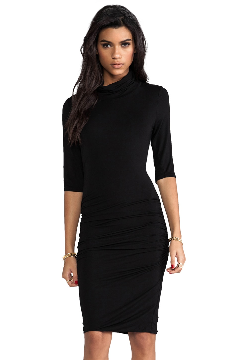 Bobi Long Sleeve Turtleneck Dress in Black
