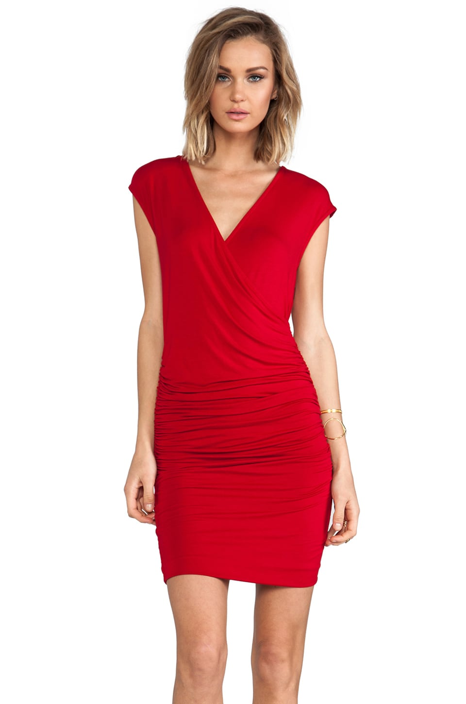 Bobi Short Sleeve V-Neck Dress in Scarlett