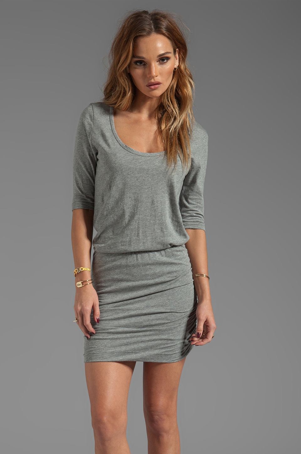 Bobi Supreme Jersey Long Sleeve Mini Dress in Thunder