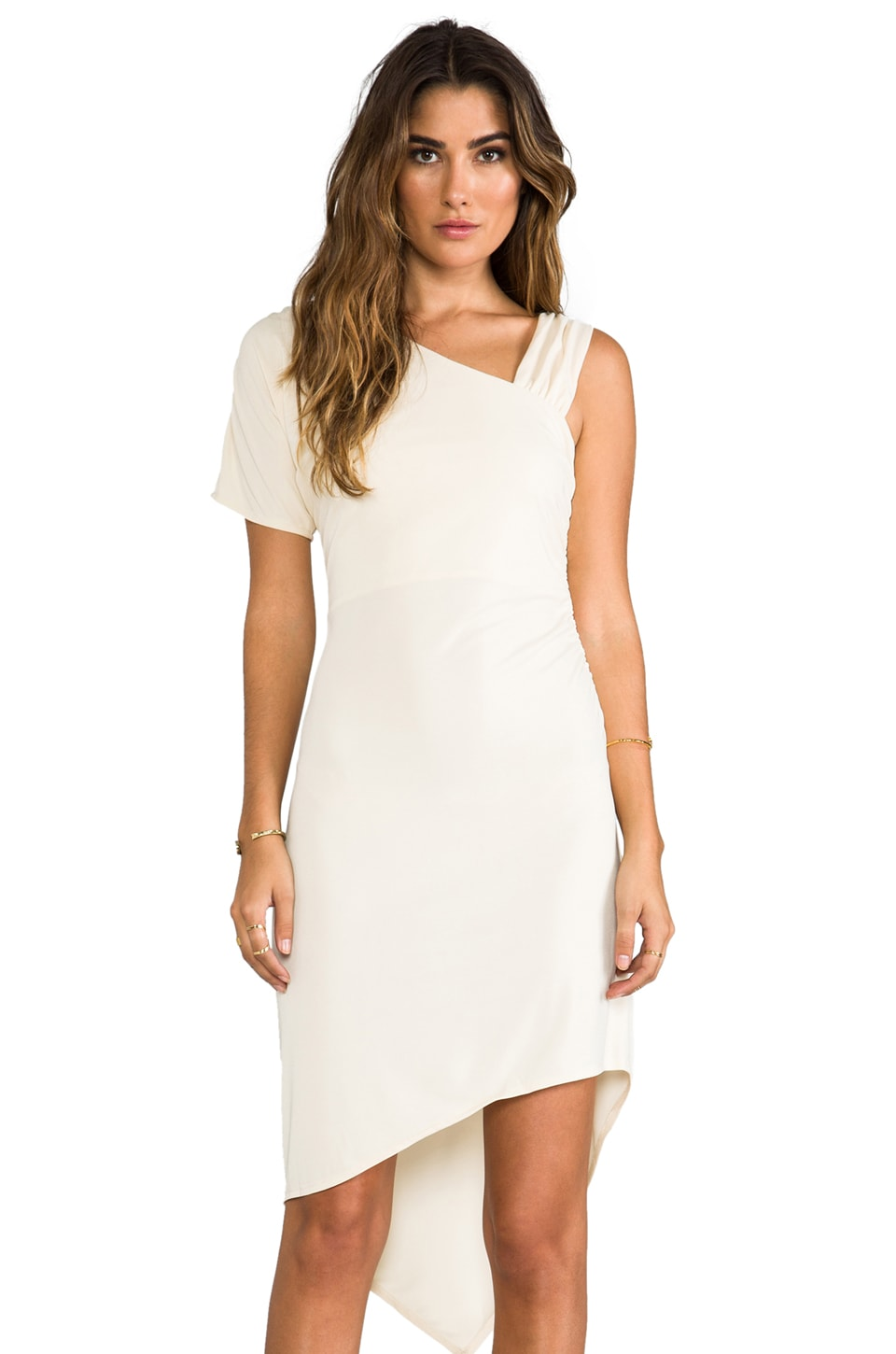 Bobi Matte Jersey One Shoulder Dress in Ivory