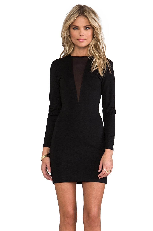 Bobi Ponte & Mesh Long Sleeve Dress in Black