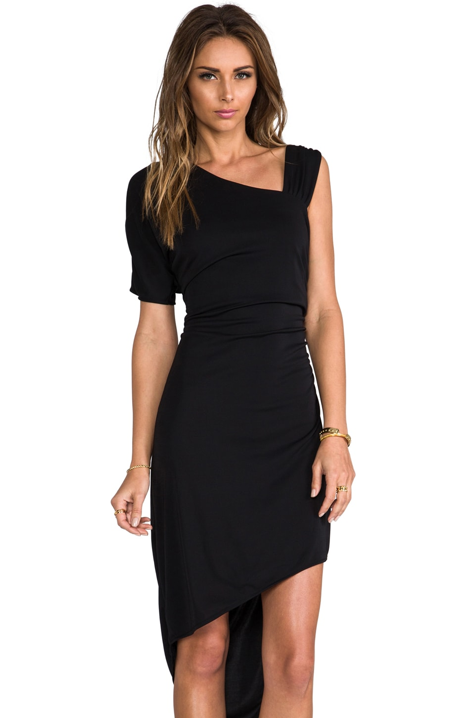 Bobi Asymmetric One Shoulder Dress in Black