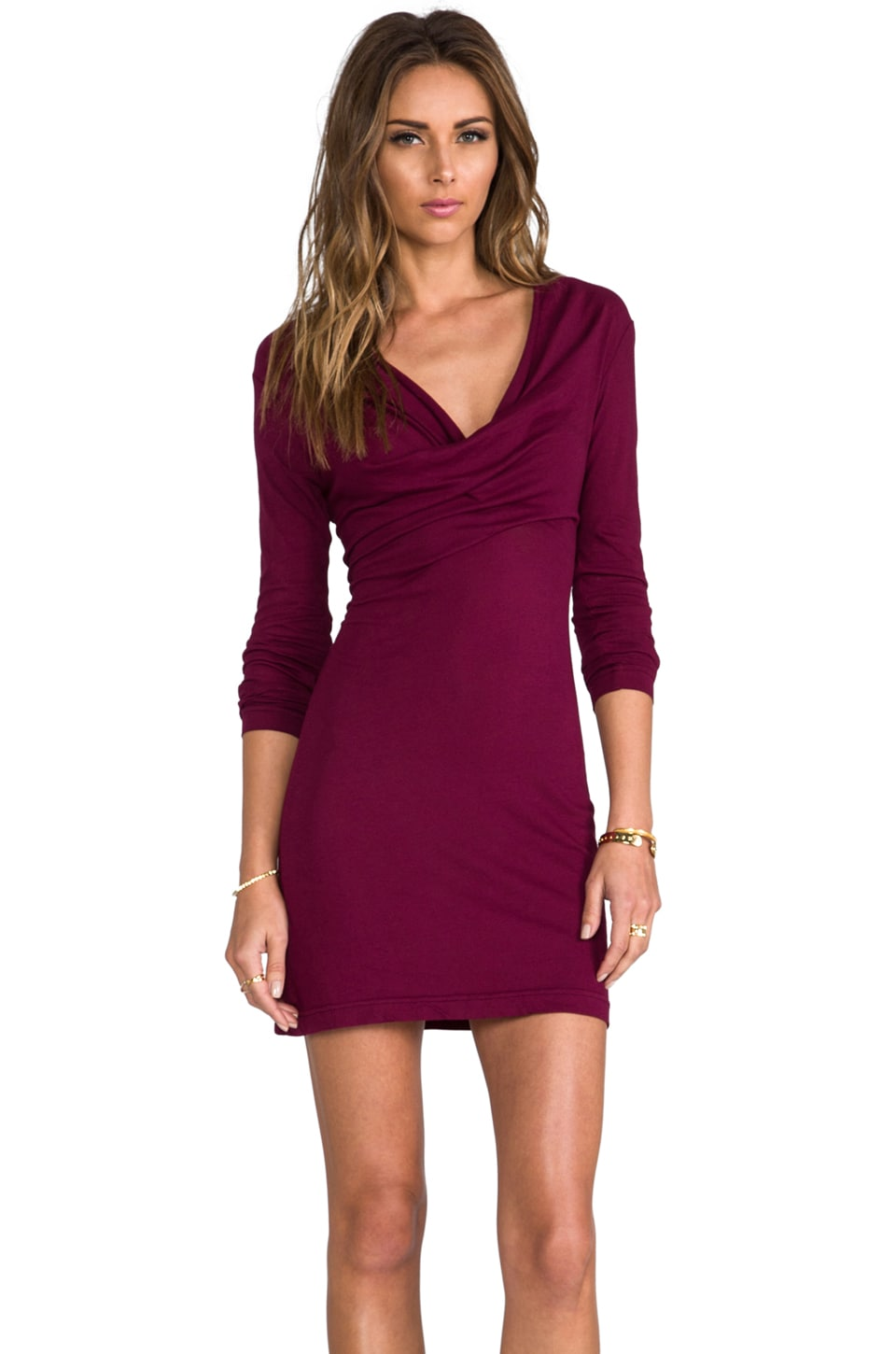 Bobi Light Weight Jersey Long Sleeve Dress in Merlot