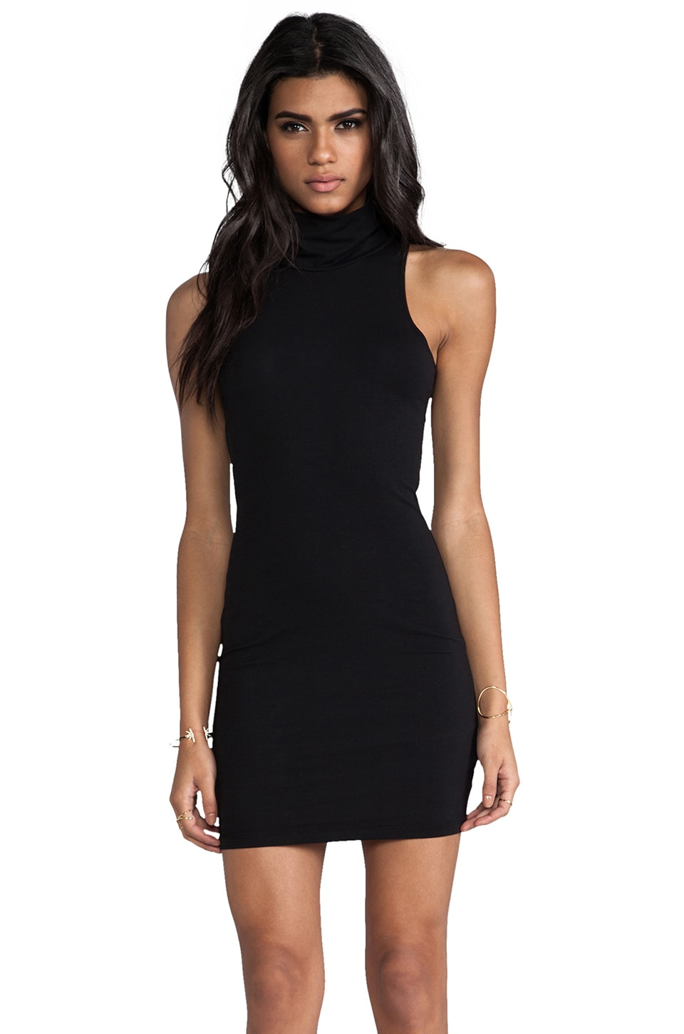 Bobi Turtleneck Tank Dress in Black