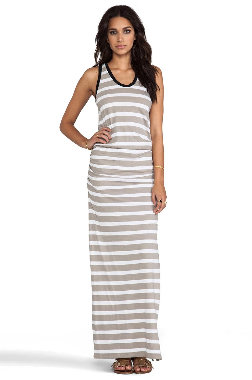 Bobi Light Weight Jersey Stripe Maxi Dress in Natural & White & Black