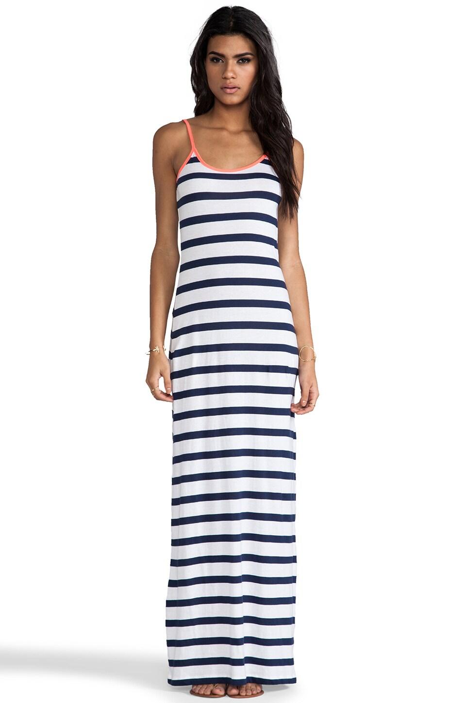 Bobi Light Weight Jersey Stripe Maxi Tank Dress in Marina & White & Tetra