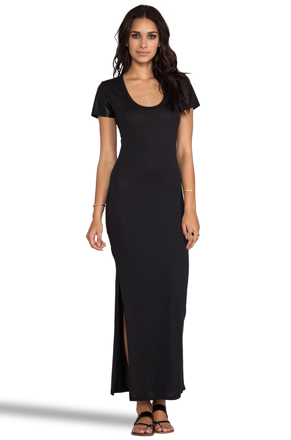 Bobi Jersey Maxi Dress with Leather in Black