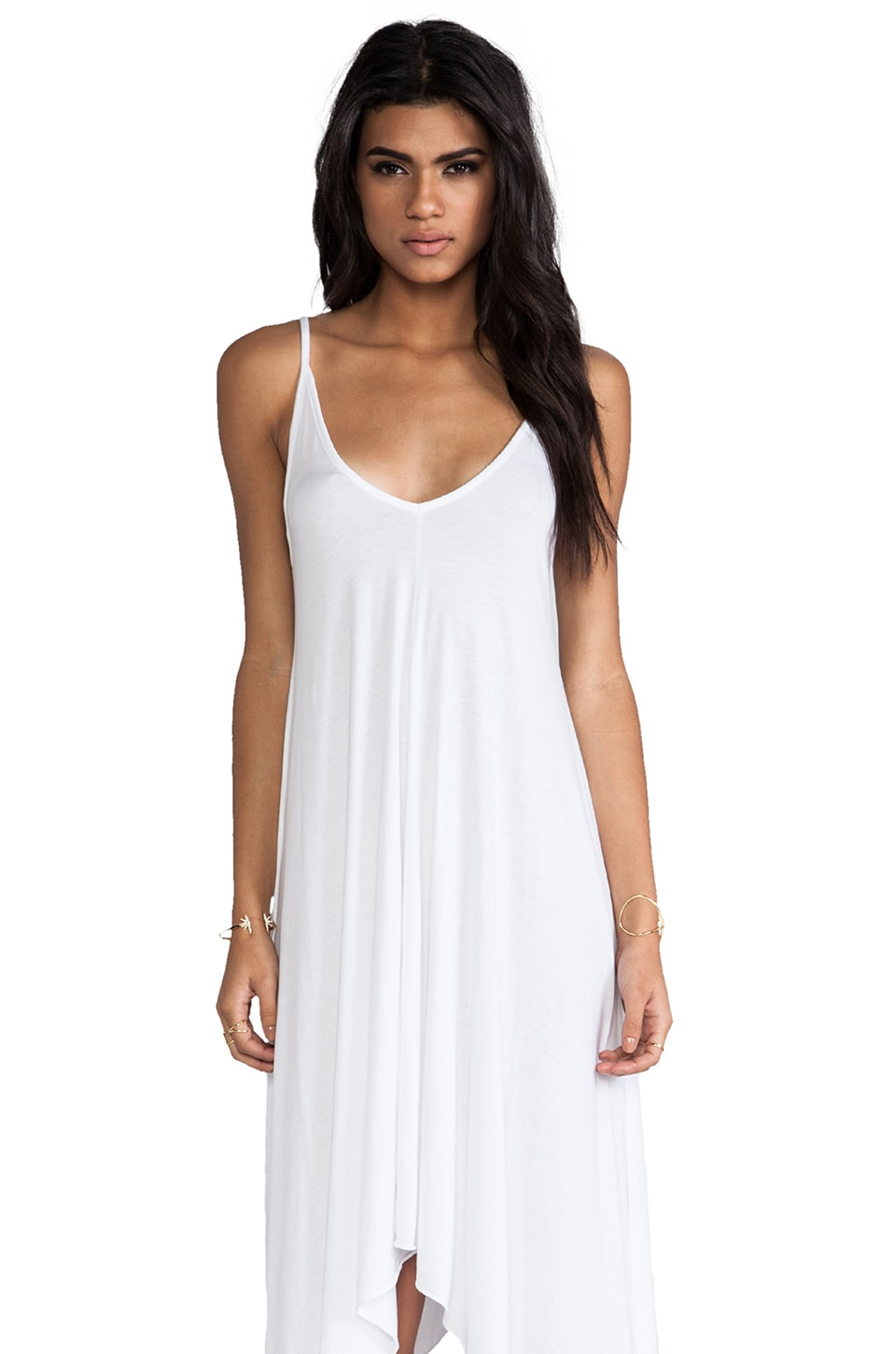 Bobi Jersey Mini Asymmetrical Dress in White