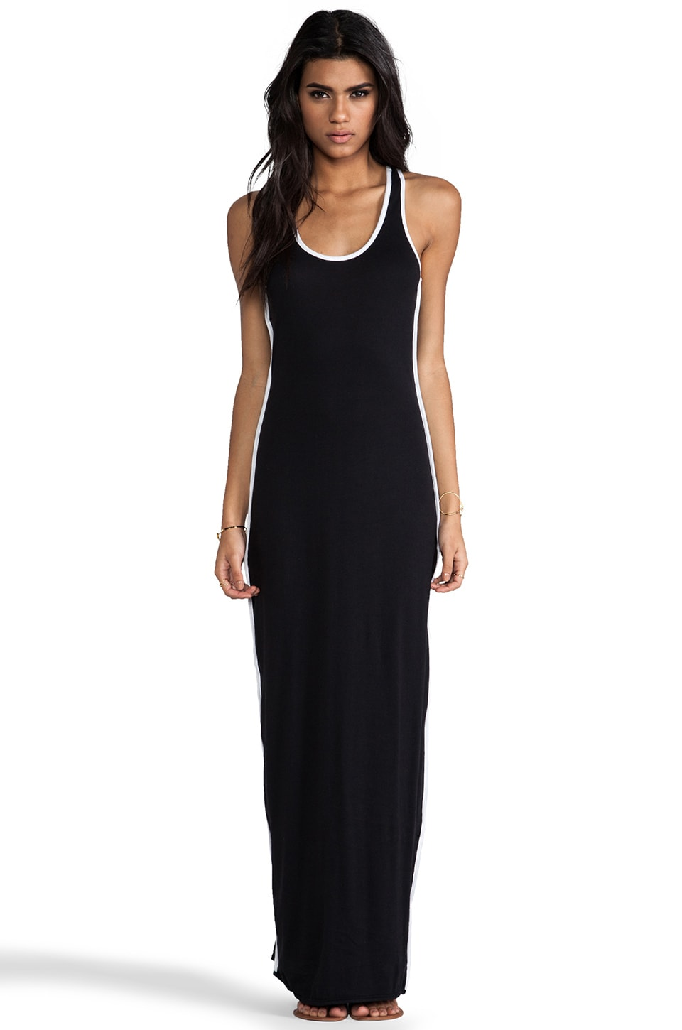 Bobi Light Weight Colorblock Maxi Dress in Black & White