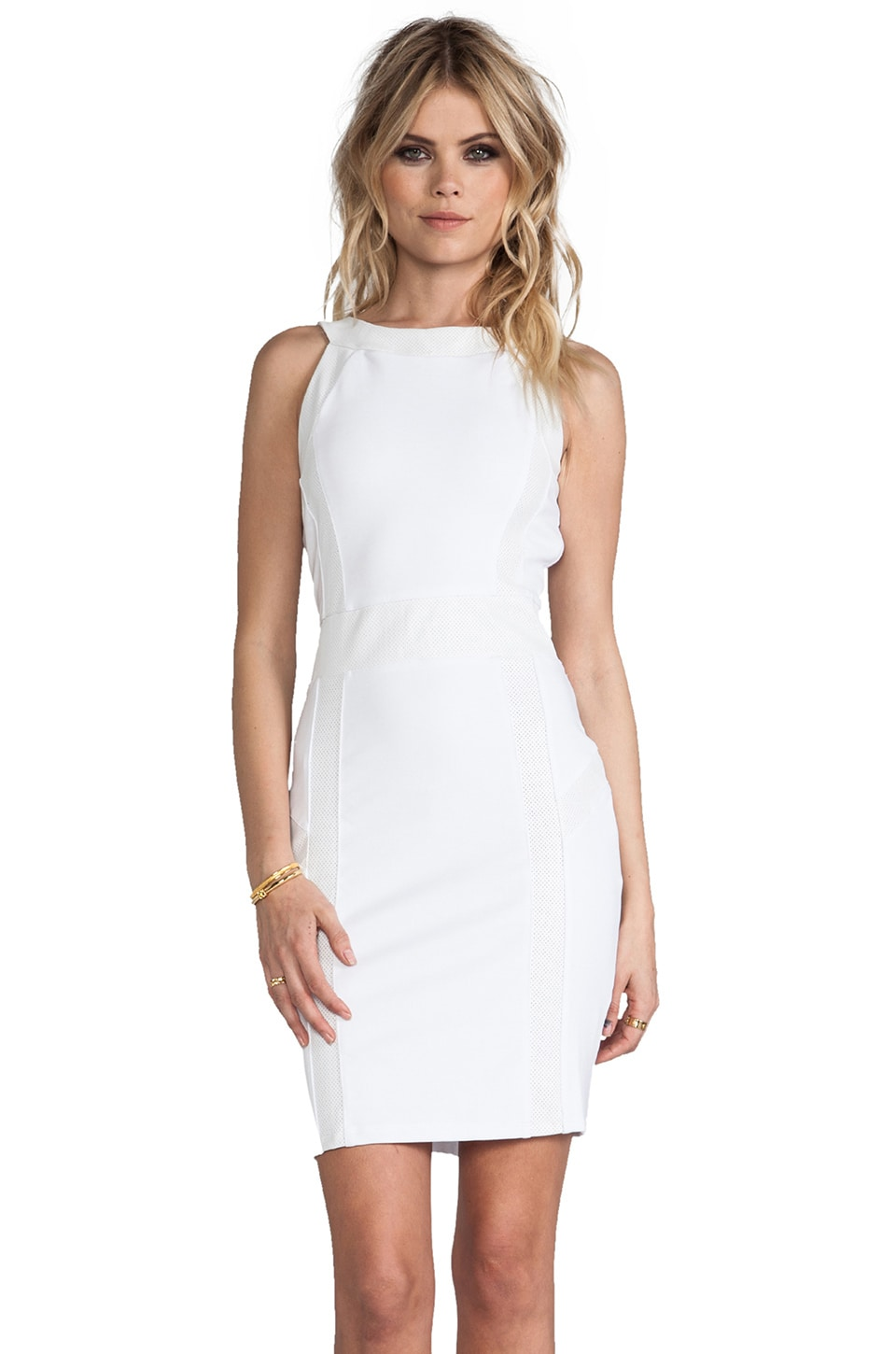 Bobi Ponte Halter Dress with Leather in White