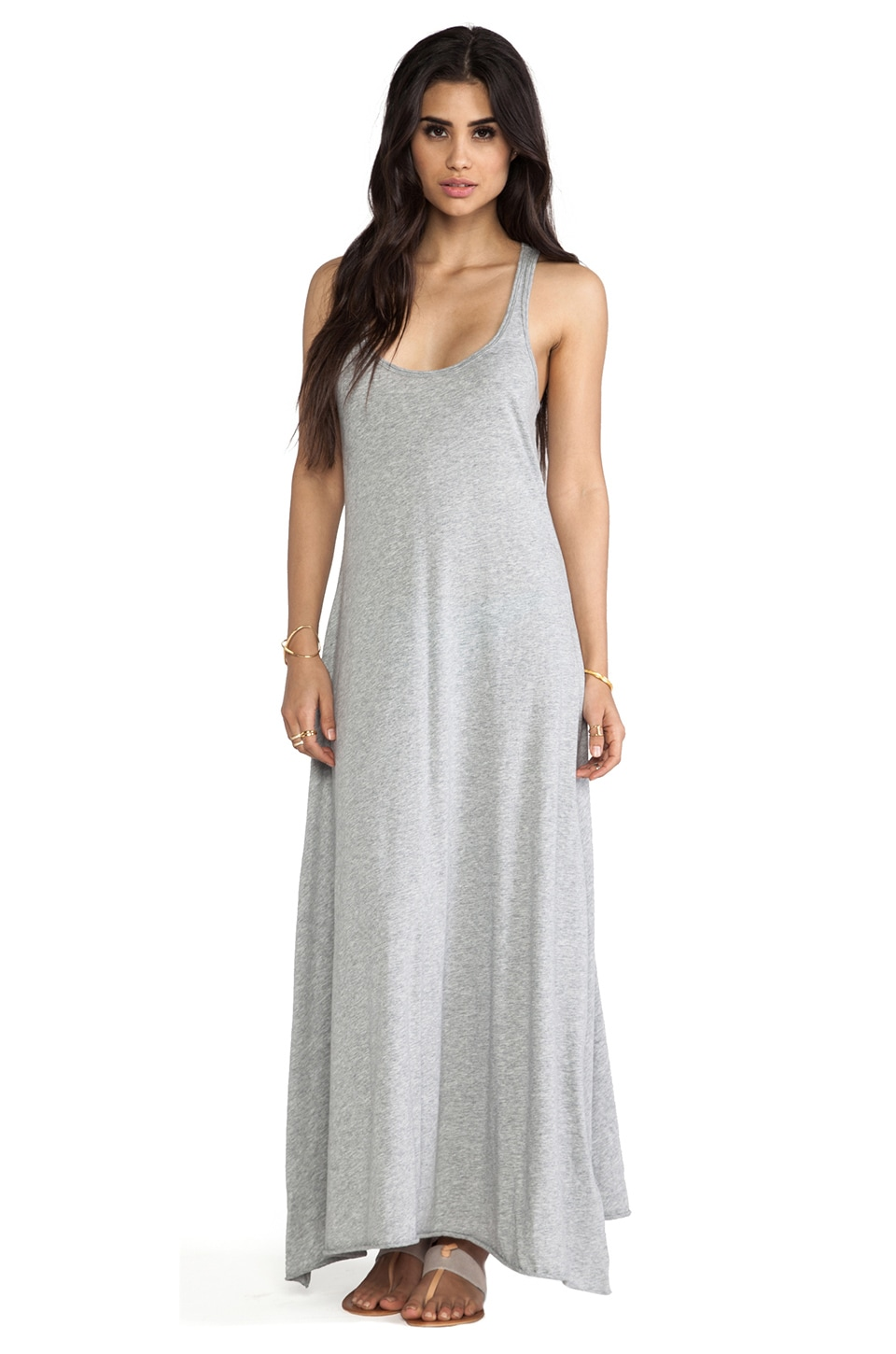Bobi Supreme Jersey Racerback Maxi Dress in Heather Grey