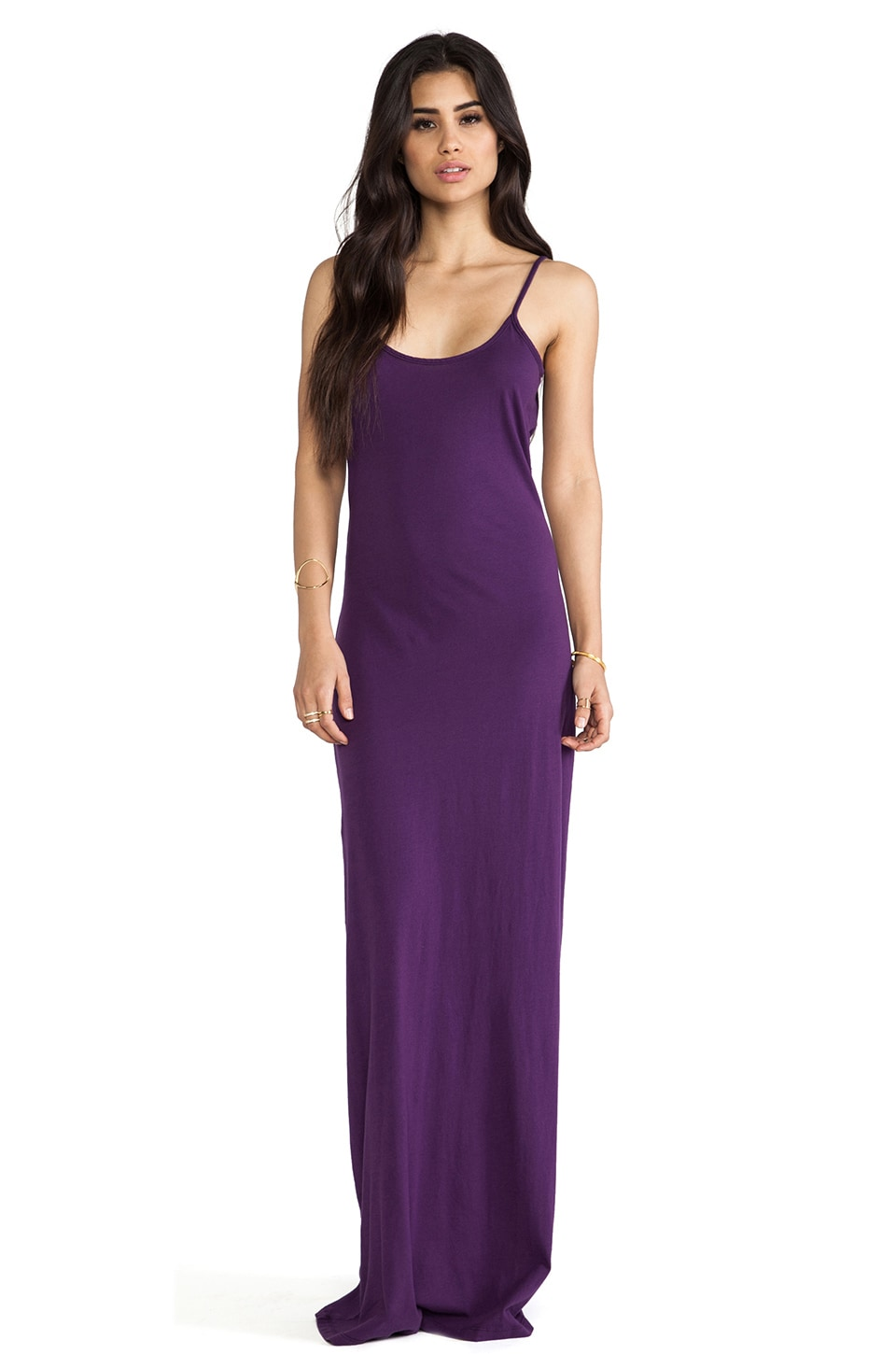 Bobi Supreme Jersey Low Back Maxi Dress in Plum