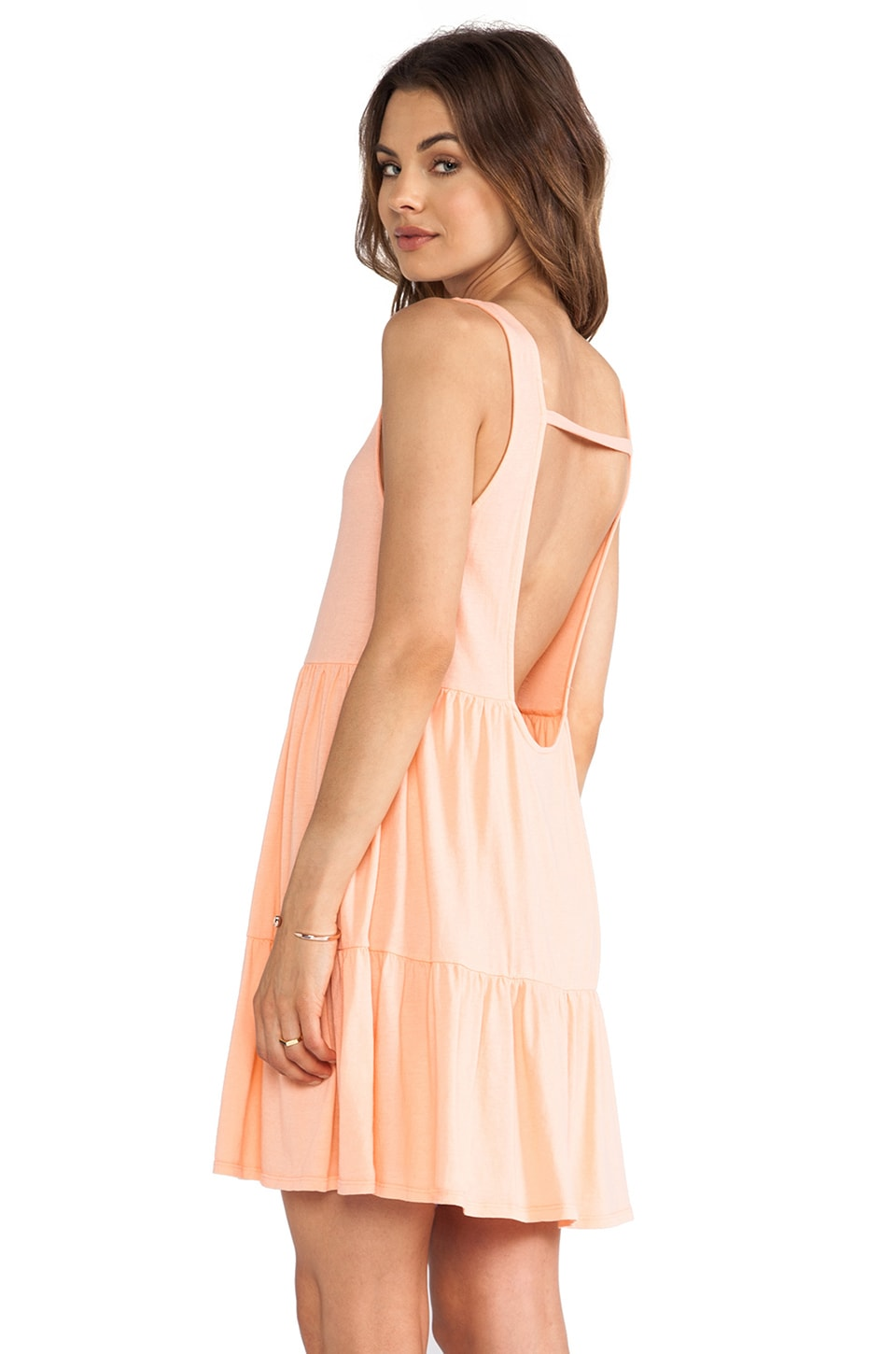 Bobi Light Weight Jersey Swing Dress in Coral
