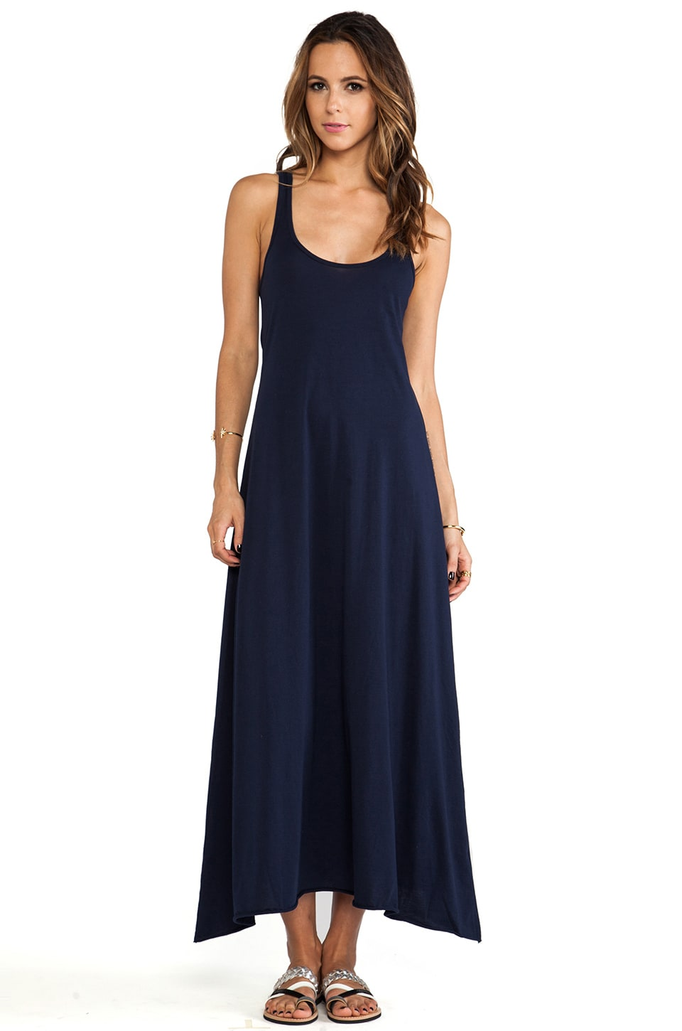 Bobi Light Weight Jersey Maxi Tank Dress in Marina