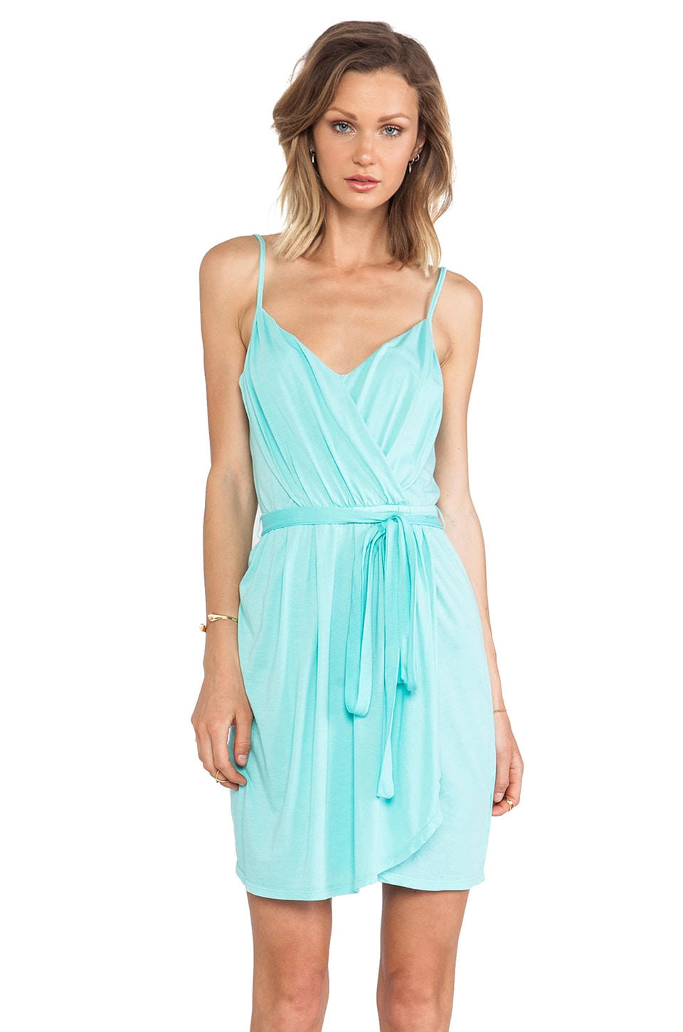 Bobi Jersey Wrap Dress in Aqua