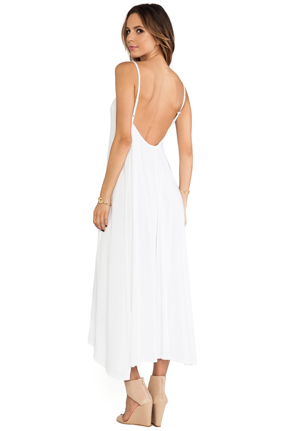 Bobi Low Back Maxi Dress in White