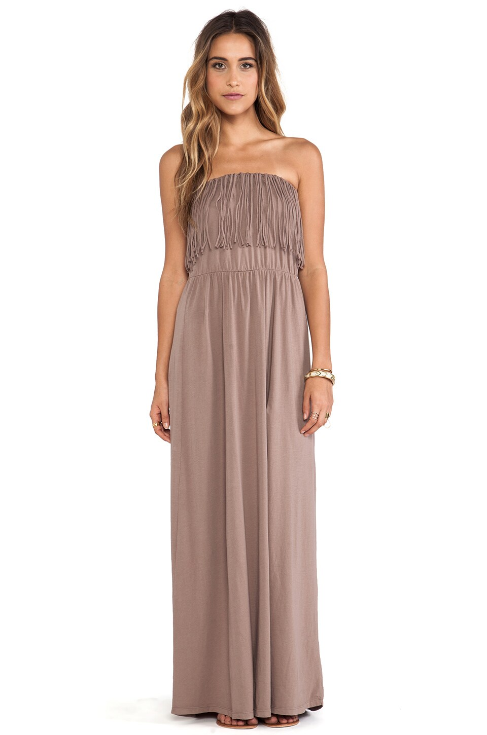 Bobi Light Weight Jersey Strapless Dress in Java