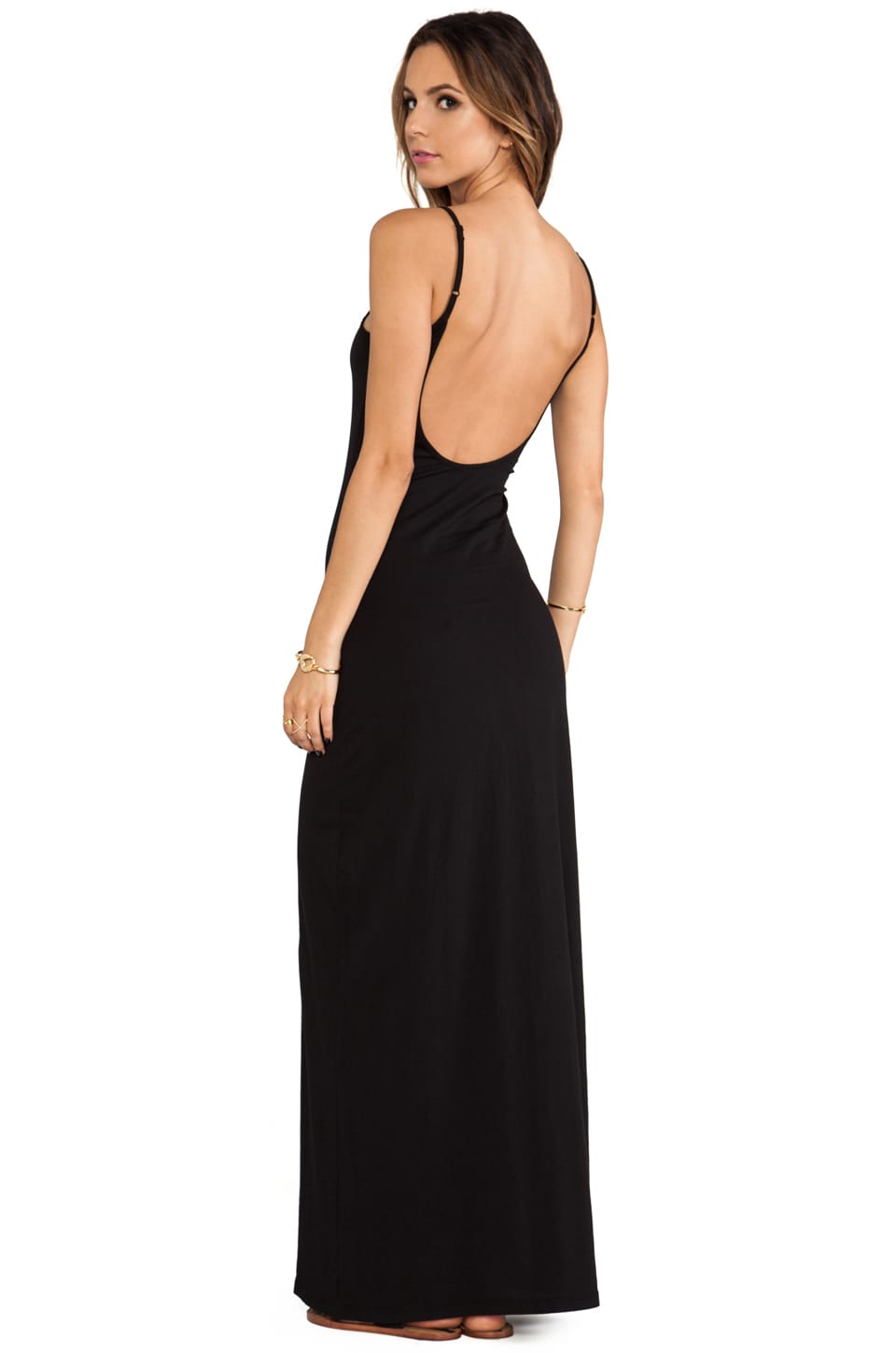Bobi Open Back Maxi Dress in Black