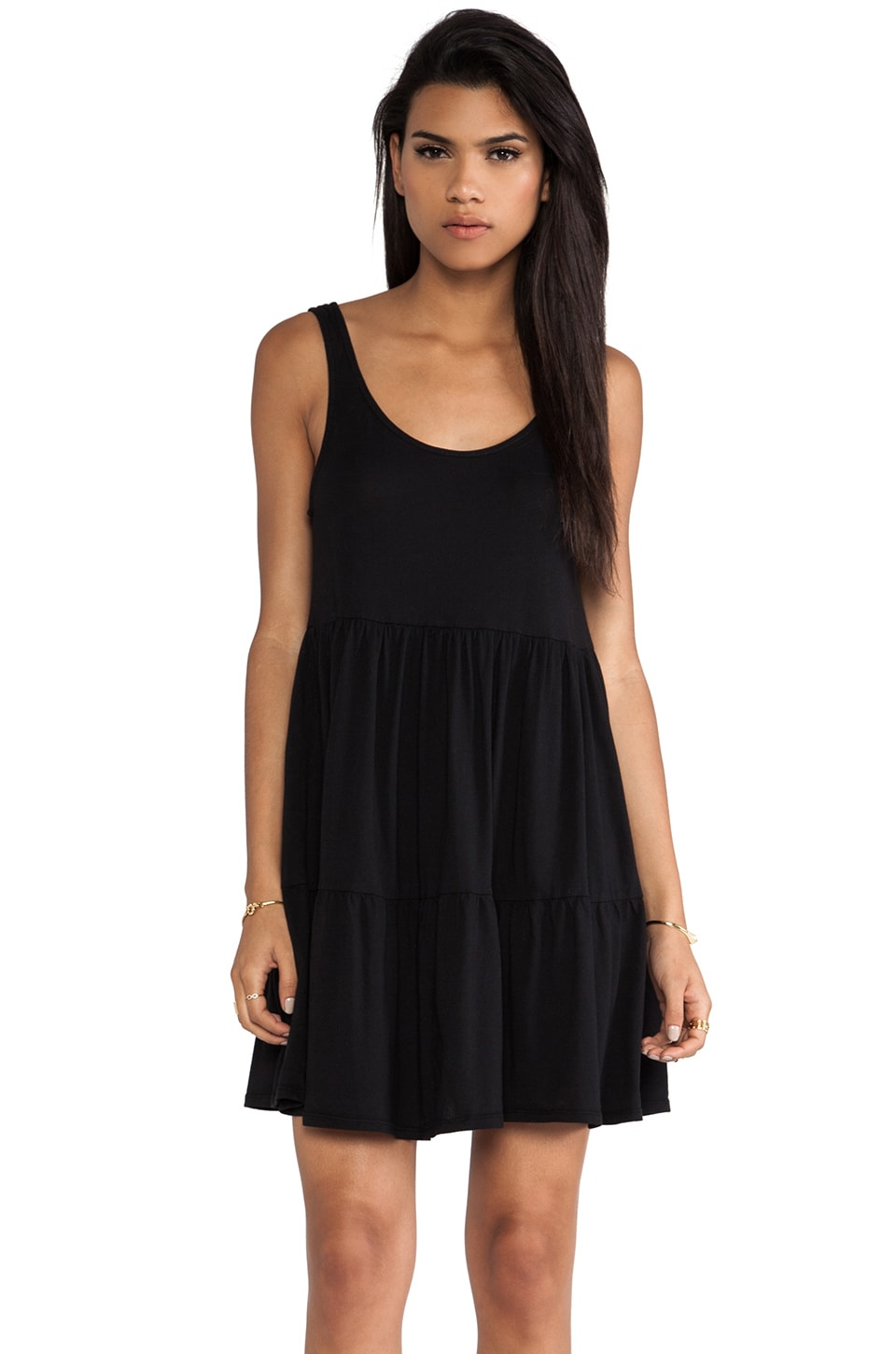 Bobi Light Weight Jersey Swing Dress in Black