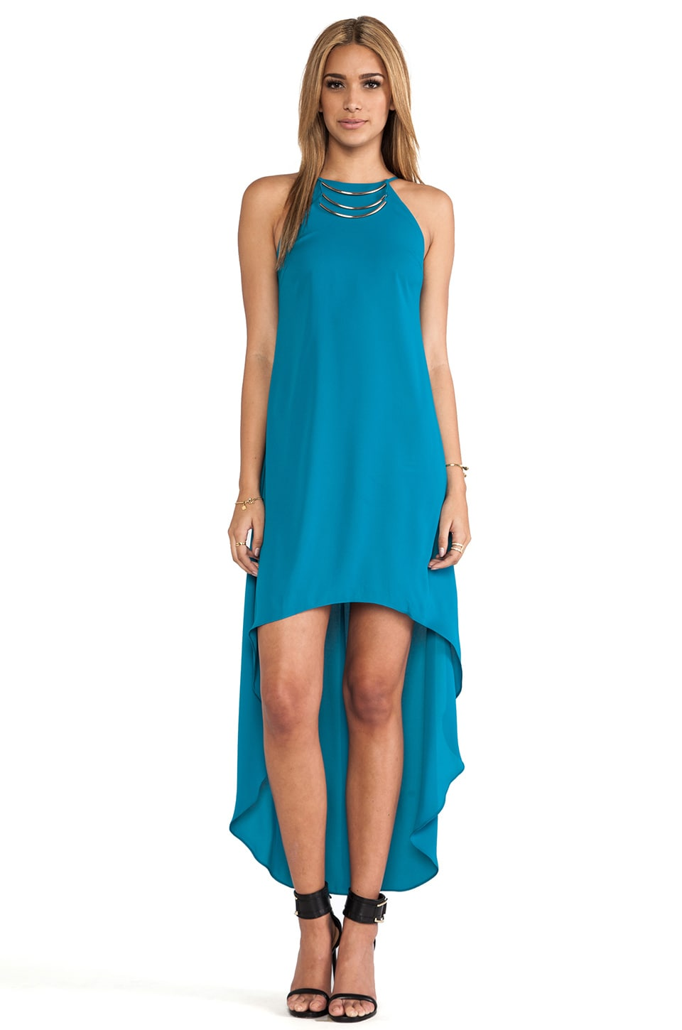Bobi BLACK Halter Asymmetrical Dress in Teal