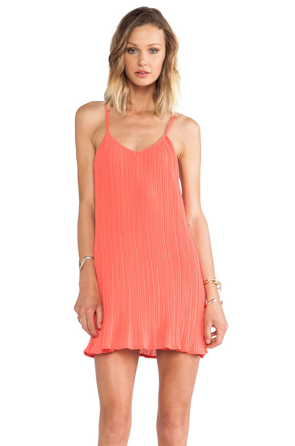 Bobi BLACK Pleated Chiffon Swing Dress in Coral