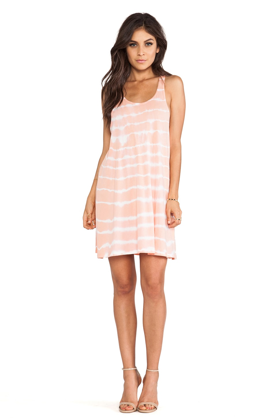 Bobi Light Weight Jersey Tie Dye Mini Dress in Coral