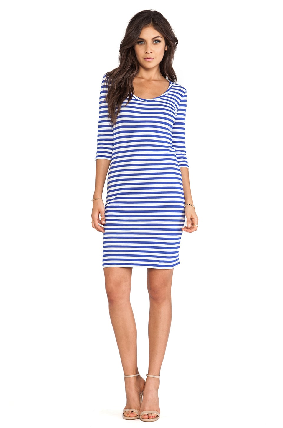 Bobi Light Weight Jersey Stripe Dress in Ultrablue & White