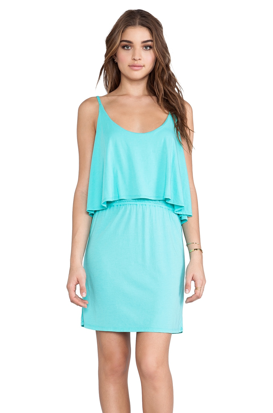 Bobi Modal Jersey Tank Mini Dress in Aqua