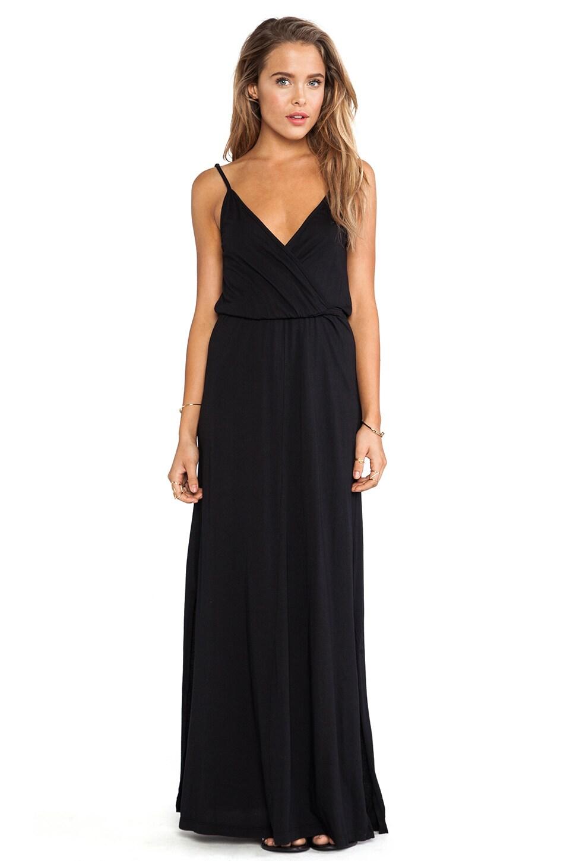 Bobi Modal Jersey V-Neck Tank Maxi Dress in Black