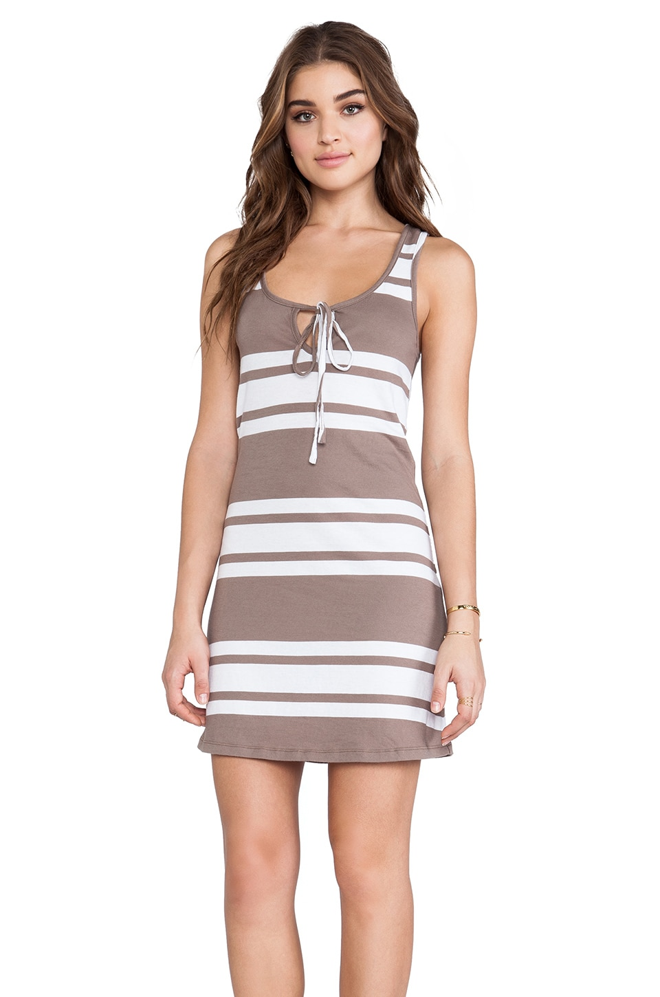 Bobi Light Weight Jersey Mini Dress in Java & White