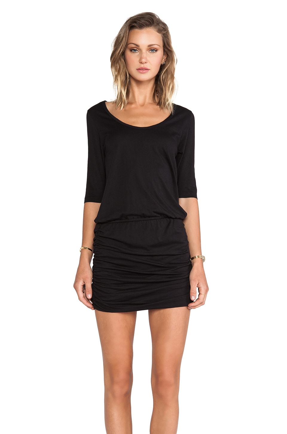 Bobi Supreme Jersey Long Sleeve Mini Dress in Black