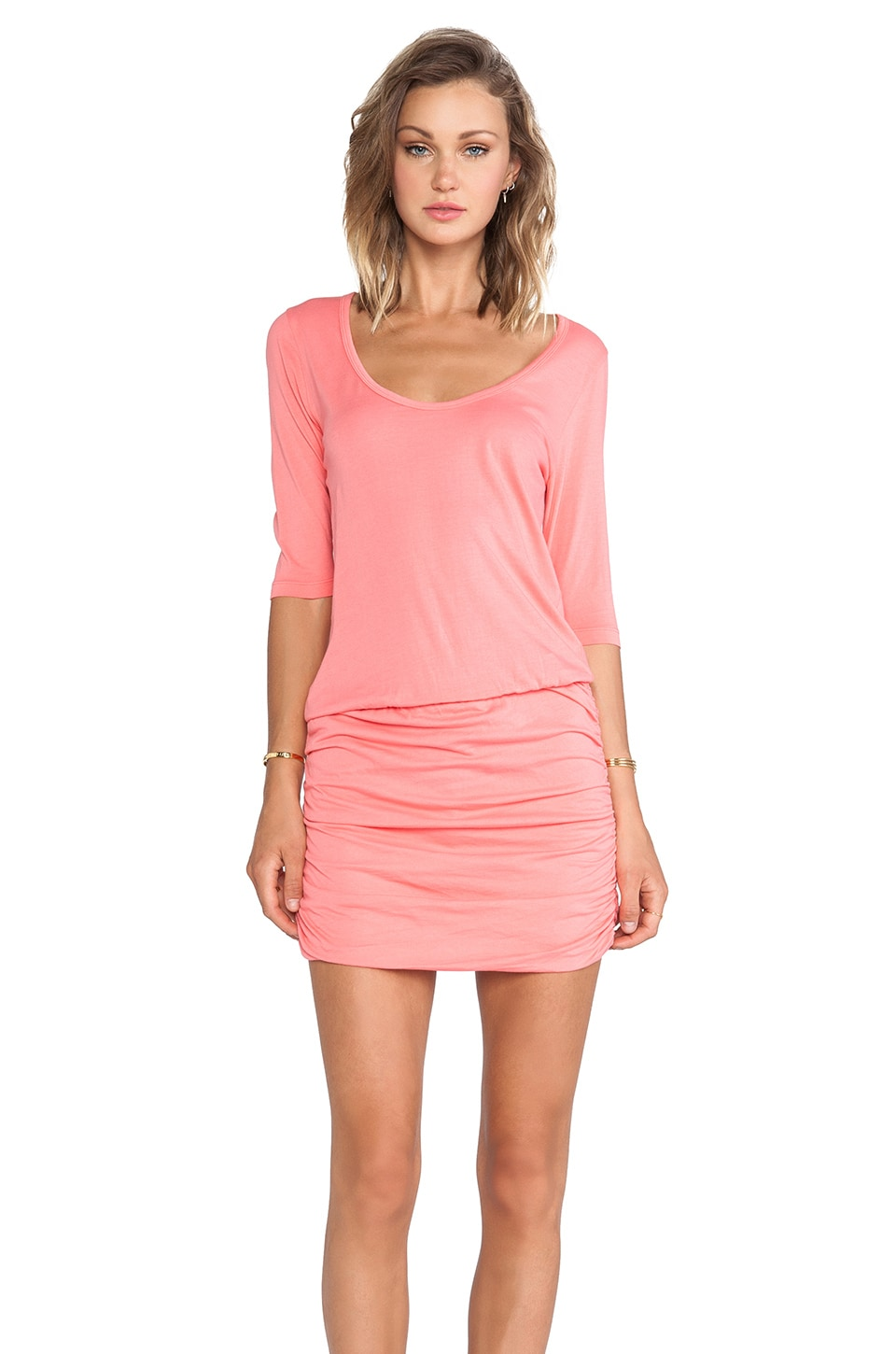 Bobi Supreme Jersey Long Sleeve Mini Dress in Sunset